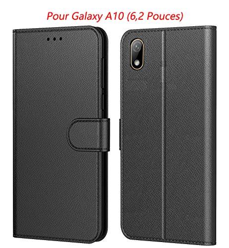 Tenphone Etui Coque pour Samsung Galaxy A10, Protection Housse en Cuir PU Portefeuille Livre,[Emplacements Cartes],[Fonction Support],[Languette Magnétique] pour (Galaxy A10 (6,20 Pouces), Noir)