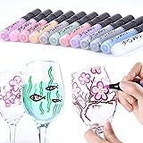 Acryl Marker Stifte–12Farben Glas & Keramik Paint Marker, perfekt für Glas, Keramik, Porzellan, Rock, Malerei, Stoff, Leinwand, selbstgemachten Geschenk für Muttertag, Vatertag