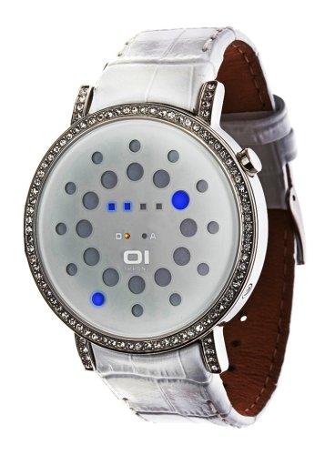 Binary THE ONE ORS504B1 - Reloj digital unisex de cuarzo con correa de piel blanca - sumergible a 30 metros