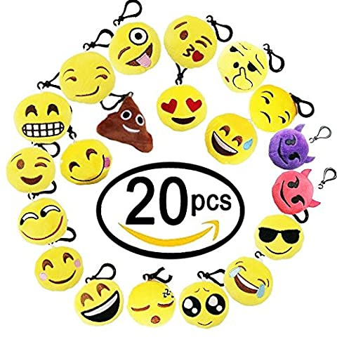 Jansroad 20 Pcs Emoji Porte-clés en Peluche Mignon Émoticône , Sac à Dos Pendentif , Fournitures de fête ,Cadeau pour enfants anniversaire fête Christmas
