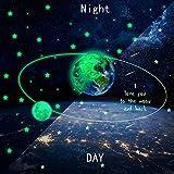 GSJJ Leuchtend Aufkleber 3D Mond Erde und Sterne Leuchtet im Dunkeln Fluoreszenz Gute Qualität Wandtattoo Zuhause Wohnzimmer Schlafzimmer Kinder Kinderzimmer Dekoration,diameter30cm