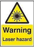 """Caledonia Signs, 14014E, Warnzeichen mit der Aufschrift """"Warning Laser Hazard"""", 200mm x 150mm, starrer Kunststoff"""