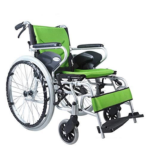 SHOWGG Transport-Rollstuhl Ergonomisches, leichtes Getriebe Leichtes, zusammenklappbares Aluminium-Transportsystem mit pannensicherem Reifen und Einer Kapazität von 100 kg -