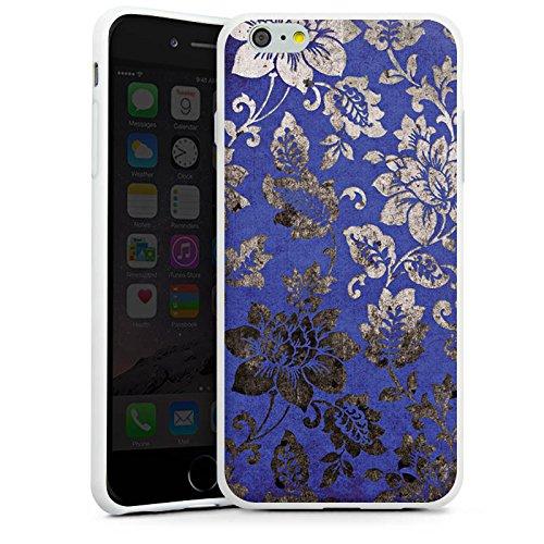 Apple iPhone X Silikon Hülle Case Schutzhülle Ornament Blumen Silber Silikon Case weiß