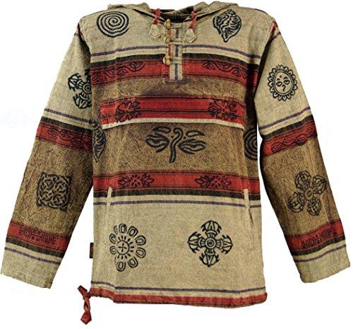 Baja Hoodie (Guru-Shop Goa Kapuzenshirt, Baja Hoody Nepalhoodie, Herren, Cappuccino, Baumwolle, Size:XL, Sweatshirts & Hoodies Alternative Bekleidung)
