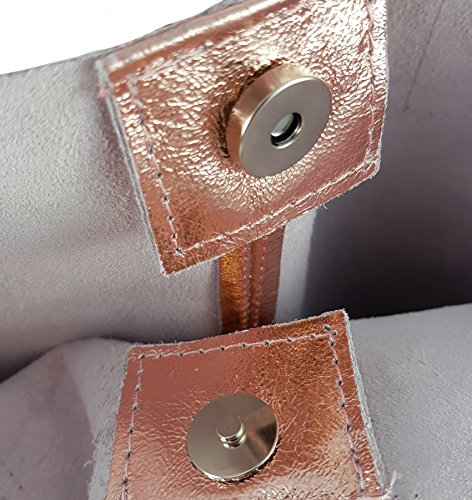 FreyFashion - Made in Italy, Borsa tote donna Roségold Metallic