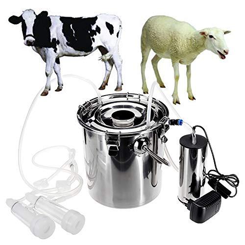 Máquinas de ordeño Eléctrico Bomba de vacío de Pulso Doble Cabeza Cubo de Acero Inoxidable,para Vacas ovejas EU/US Enchufe 5 L (110-240V),Forgoat