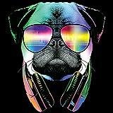 MopsUmhngetascheTasche-Vintagelook-mit-Dog-Neon-Druck-DJ-Pug-fr-Hundefreunde
