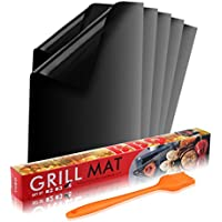 BALFER Tapis de Cuisson Haut de Gamme pour Barbecue et Four Set de 5(40*33 cm), réutilisable, Nettoyage facile et Anti-adhérent, convient pour Barbecue, Avec Pinceaux en silicone Set de 1
