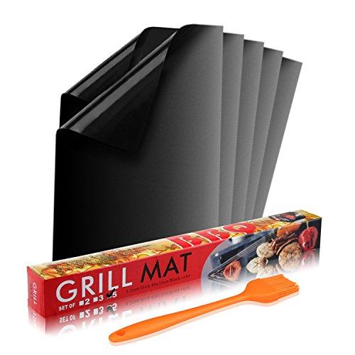 BALFER Tapis de Cuisson Haut de Gamme pour Barbecue et Four Set de 5(40*33 cm), réutilisable, Nettoyage facile et Anti-adhérent, convient pour Barbecue, Avec Pinceaux en silicone Set de 2