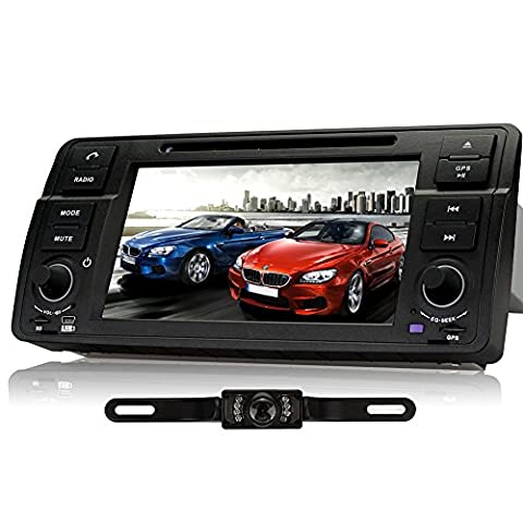 Pumpkin 7 inch Wince 6.0 System Singe Din Car Radio Multimedia DVD Player for BMW 3 Series BMW E46 BMW M3 Support GPS Navigation, Bluetooth, SWC, AM FM RDS, USB SD, AUX, iPod iPhone (Reversing Camera Y0811 and 8GB Map Card included)