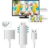 Lightning zu HDMI Kabel Adapter, GOXMGO Die neueste Generation HDMI Video AV 1080P Spiegelung Kabelstecker mit Video Audio Ausgang für iOS iPhone iPad / Android Smartphones auf HDTV / Projektor / Monitor
