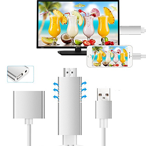 3 Tv-adapter Mini Ipad (Lightning zu HDMI Kabel Adapter, GOXMGO Die neueste Generation HDMI Video AV 1080P Spiegelung Kabelstecker mit Video Audio Ausgang für iOS iPhone iPad / Android Smartphones auf HDTV / Projektor / Monitor)