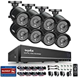 SANNCE 8-Channel 1080N HD DVR CCTV Camera System w/ 8x High Res. 1.0Megapixel 720P HD In/Outdoor Day/Night Vandal&Weatherproof Bullet Cameras,