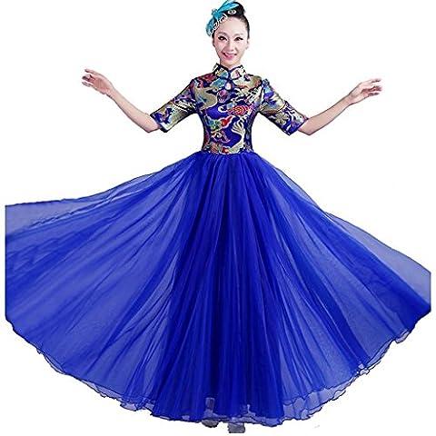 Byjia Erwachsene Frauen Tanz Lange Kleider Eröffnung Große Rock Druck Stickerei Sequins Moderne Chor Nation Klassische Bühne Gruppe Team Aufführungen Kostüme Blue (Groß Nation-kostüm Für Erwachsene)