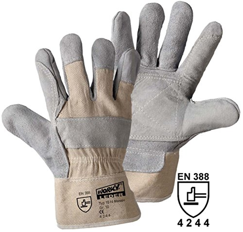 Gants de protection Leipold + Döhle 1514 Cuir refendu de vachette EN 388 RISQUES MECANIQUES 4244 Taille 10 (XL)