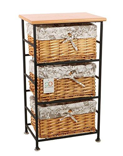 Decomania - Mueble de almacenamiento cómoda 3 cestos de Metal y Mimbre – Estilo Campo Industrial – Color MADERA.
