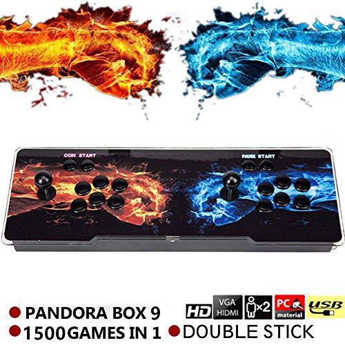 SeeKool Pandora's 9 Juegos clásicos Consola de Videojuegos, 1500 in 1 Multijugador Arcade Game Console, 2 Joystick Partes de la Fuente de alimentación HDMI y VGA y Salida USB