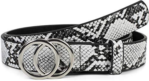 styleBREAKER Damen Gürtel mit Schlangen Muster und Ringschnalle, Hüftgürtel, Taillengürtel 03010094, Größe:95cm, Farbe:Schwarz-Weiß -