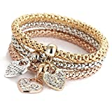 ODJOY-FAN Charme Frau Armband Popcorn Mais Kette Gold Silber Rose Strass Armreif Charm-Armbänder Schmuck (B,3 PCS)