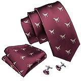 Barry.Wang Herren Krawatten-Set aus Seide, Einstecktuch und Manschettenknöpfen Gr. Einheitsgröße, burgunderfarben