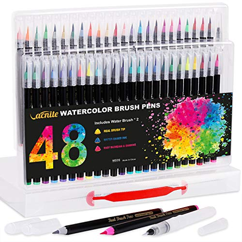 Aquarelle Pinselstifte, 48 Farben Pinselstifte und 2 Wasserbürsten mit flexiblen Nylon Pinseltipps, Malermarkierungen für Kalligraphie, Manga-Zeichnung, Künstler, Anfänger Maler, Kinder und Erwachsene