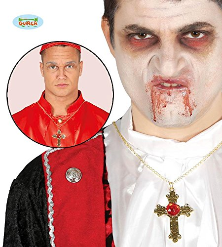 (Kette mit Großem Roten Stein Gold Rot Gold Halloween Karneval Fasching Kirche Gothic Tod)