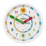 Amonev, Orologio da parete per insegnare ai bambini a leggere e dire l'ora, orologio con movimento silenzioso (versione italiana non garantita), bianco, 28cm Diameter