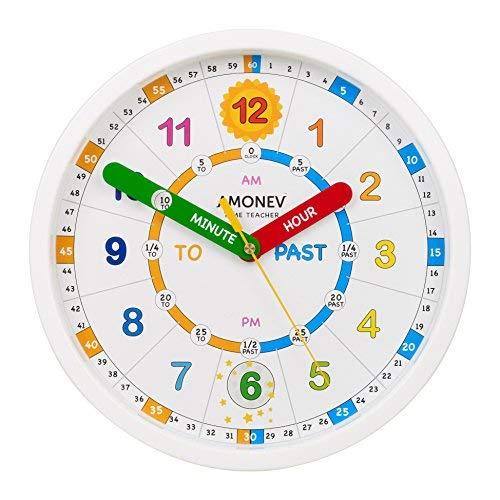 Amonev Time Teacher Wanduhr, lehrt Kindern Das sofortige Lesen und Sagen Sie die Zeit mit Dieser geräuschlosen Uhrwerk, weiß, 28cm Diameter