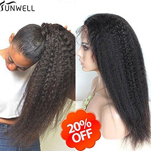 Sunwell Grade 6A Perruque Kinky Straight brésiliens vierges cheveux humain pleine dentelle pour femme couleur naturelle Densité 130%