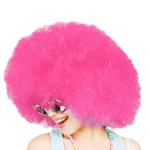 Clown Rosa Kostüm - LUOEM Clown Perücke Afroperücke für Karneval Fasching Party Clown Kostüm (Rosa)