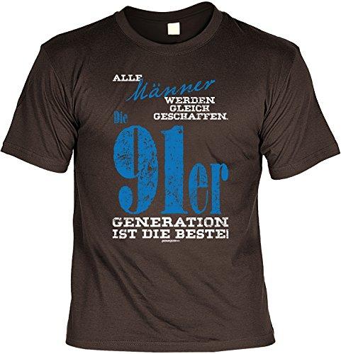 T-Shirt zum Geburtstag - Alle Männer werden.. - 91er Generation ist die beste! - Geburtstagsgeschenk - Fun shirt - braun Braun