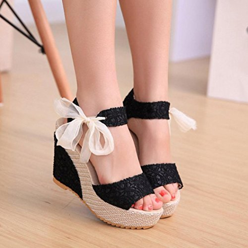 Saingace Frauen Fashion Sommer Wedge Heels Sandalen Lace-Up Flip Flops Schuhe Schwarz