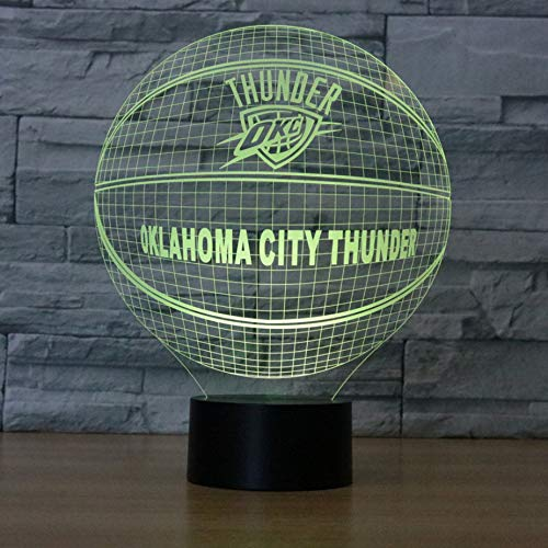 EdmendYang Die Stadt von Thunder 3D Nachtlicht Durant American Basketball Club USB Lampe Westbrook Russell LED-Licht Tischdekoration Nachtlicht