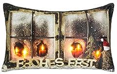 Idea Regalo - Brandsseller, cuscino natalizio decorativo, illuminato a LED, 50 x 30 cm, Microfibra, Buona resistenza., 50x30 cm