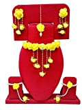 #7: Bharat Sales Floret Yellow Color Gota Patti Necklace, Earrings, Bracelet & Maang Tika For Women & Girls (Mehandi/Haldi/Bride)