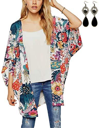 PIPIHU Mujer Chal Flojo Cárdigan Kimono Florales