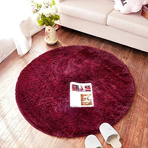 SANNIX Round Shaggy Area Rugs and Carpet Super Soft Bedroom Carpet Rug for Kids Play(Wine
