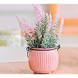 XPHOPOQ Estilo europeo lavanda macetas con plantas flores artificiales Mesa De Comedor decoración Rosa