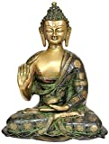 Gathbandhan 15 Inches Large Brass Buddha Statue Blessing Pose Sculpture with Floral design Deatiled Hand Craving Spiritual Showpiece + Cash Envelope (Pack Of 10)