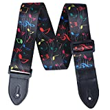 PUNK Polyester Color Printing Guitar Strap 2mm Thick with PU Leather Ends Variety Image Designs (Colorful Music Notes)