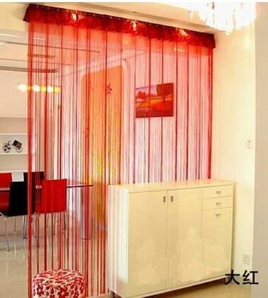 Eve Split 100x 200cm Dekorative Fadenvorhang Perlen Wand Panel Fransen Fenster Raumteiler Rollo für Hochzeit Kaffee Haus Restaurant Teile Tür Trennwand Perlen Quaste Bildschirm Dekoration rot