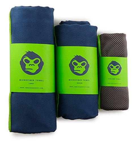 Jimmi the Monkey Mikrofaser-Handtuch 3er–Set: Large, Medium + Cooling Towel (Grün)