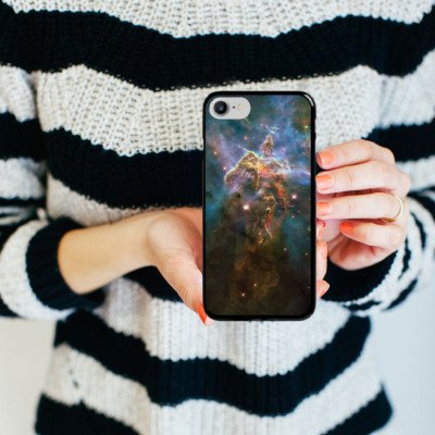 Apple iPhone X Silikon Hülle Case Schutzhülle Mystic Mountain Galaxy Space Hard Case schwarz