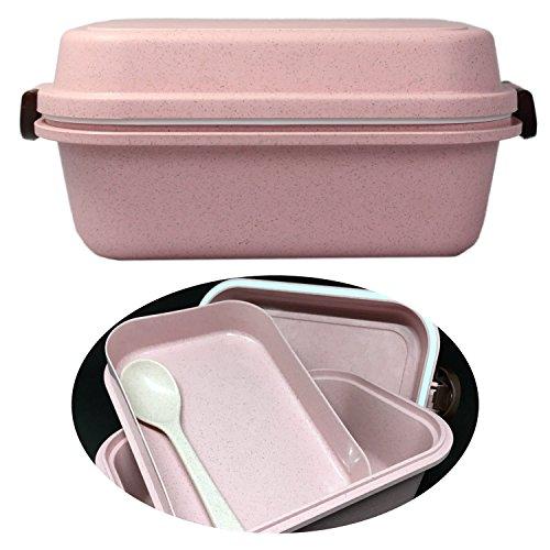 LS-LebenStil Öko Bento-Box Rosa Set 4tlg Weizen Lunchbox Frühstücksbox Brotdose