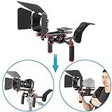 Neewer Kit Sistema Rig Film-Maker Cámara Vídeo Cine para Canon Nikon Sony Cámaras DSLR,Videocámaras DV,Montaje en Hombro,Estándar 15mm Sistema Rail Rod,Caja Mate(Rojo y Negro)