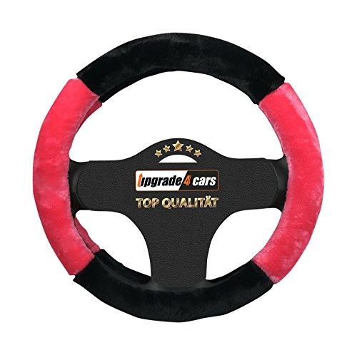 Coprivolante Peloso Rosa Nero da Donna | Copri volante per Auto Universale 37-39 cm | Accessori Automobile Interni