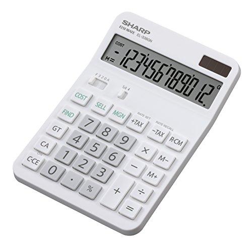 Sharp Electronics EL338GN Tischrechner 12 Stellen, Gewinnspannenberechnung, weiß