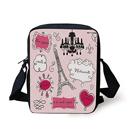 Teen Room Decor,Doodle Frames French Style Rococo Baroque Lantern Mademoiselle Print Decorative,Hot Pink Black Print Kids Crossbody Messenger Bag Purse