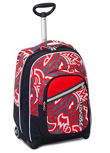 Trolley fit seven , maori , rosso , 35 lt , 2in1 zaino  con spallacci a scomparsa , scuola & viaggio
